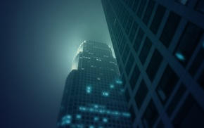 mist, night, urban, building, photography, architecture