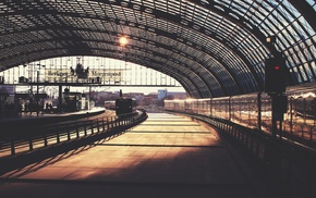 train station, architecture, urban, train, Berlin, photography