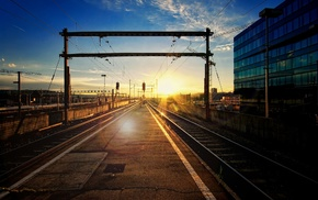 train station, urban, photography, railway, sunset