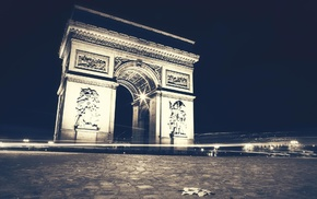 urban, Arc de Triomphe, night, long exposure, monuments, Paris