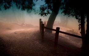 atmosphere, landscape, fence, path, mist, trees