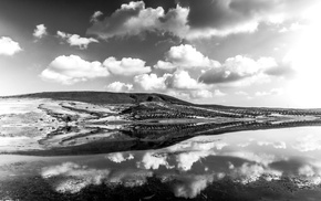 lake, photography, water, monochrome, landscape