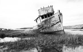 landscape, water, boat, photography, grass, monochrome