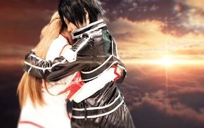 Sword Art Online, sky, cosplay, Yuuki Asuna, Kirigaya Kazuto, lights