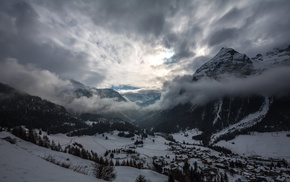 snow, mountains, clouds, mist, nature, landscape
