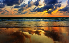clouds, reflection, waves, beach, nature, sea