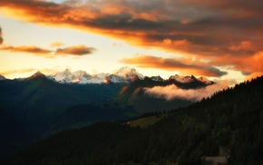 mountains, landscape, nature, clouds, trees, sunset