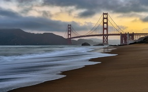 USA, Pacific Ocean, sky, bridge, landscape, clouds