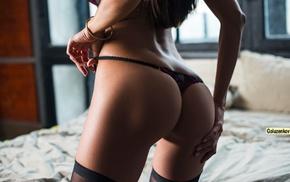 Tanya Tsvetaeva, black stockings, in bed, panties, kneeling, ass