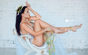 sitting, Angelina Petrova, legs, model, chair, feet