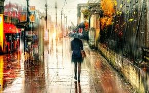 umbrella, St. Petersburg, city, blurred, rain, Russia