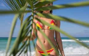 sand, model, beach, looking at viewer, Daniela Lopez Osorio, bikini