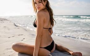 model, bikini, girl, Daniela Lopez Osorio, beach, looking at viewer