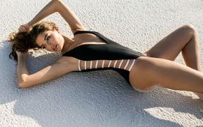 sand, looking at viewer, bikini, brunette, model, Daniela Lopez Osorio
