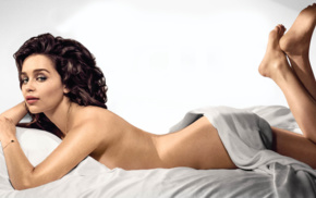Emilia Clarke, looking at viewer, actress, barefoot, in bed, bare shoulders