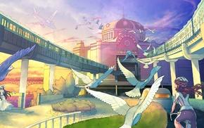 birds, train, anime girls, original characters, anime