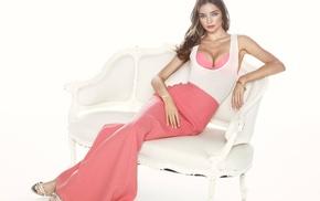 Miranda Kerr, looking at viewer, simple background, girl, cleavage, model