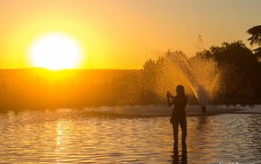 Madrid, water, sunset
