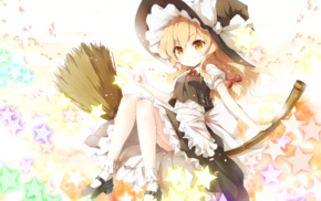 broom, ribbon, witch, yellow eyes, anime, dress