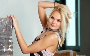 hands on head, looking at viewer, Talia Cherry, blonde, girl