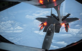 aircraft, McDonnell Douglas F, 15 Eagle, mid, air refueling, military aircraft