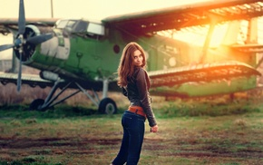 girl, Antonov An, 2, aircraft, girl outdoors, model