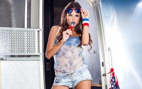 brunette, sunglasses, lollipop, Aleksa Slusarchi, sensual gaze, looking at viewer