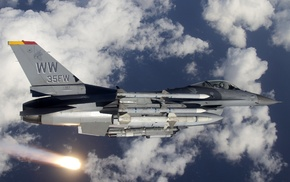 aircraft, military aircraft, flares, General Dynamics F, 16 Fighting Falcon
