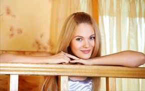 smiling, blonde, looking at viewer, Talia Cherry, girl