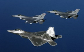 military aircraft, aircraft, F, 22 Raptor, General Dynamics F, 16 Fighting Falcon