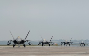 F, 22 Raptor, aircraft, runway, military aircraft