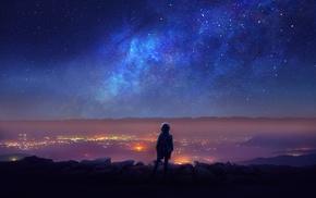horizon, stars, backpacks, night