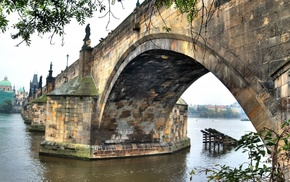cathedral, sculpture, bricks, leaves, Charles Bridge, river