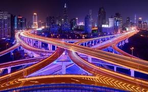 China, street, architecture, skyscraper, long exposure, bridge
