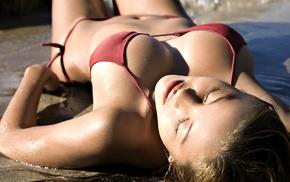 bikini, wet hair, cleavage, brunette, curvy, wet body