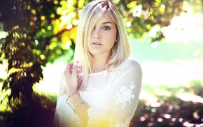 blonde, looking at viewer, trees, portrait, girl, face