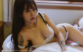 Asian, Boboli, lying on side, tattoo, girl, lingerie