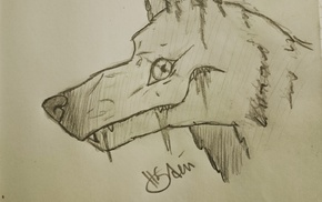 wolf, space art, drawing