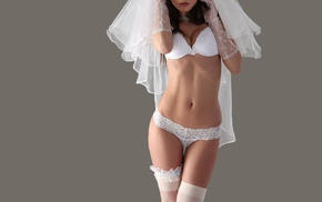 stockings, lingerie, wedding dress, white bra, Markta Stroblov, girl