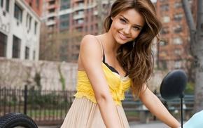 model, looking at viewer, New York City, Battery Park City, brunette, Miranda Kerr