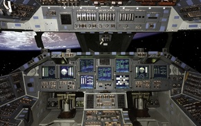 spaceship, stars, cockpit, Earth, space shuttle, space
