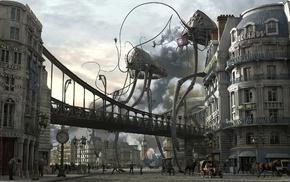 aliens, digital art, London, Big Ben, war, War of the Worlds