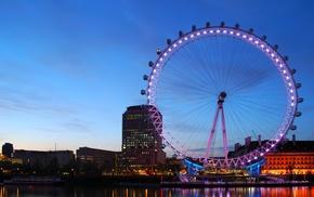 lights, city, water, London, London Eye, photography