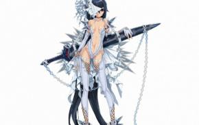 sword, dress, girl, cleavage