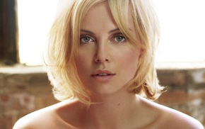 actress, blonde, girl, green eyes, Charlize Theron
