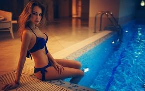 swimming pool, Ivan Gorokhov, looking at viewer, blonde, girl, model