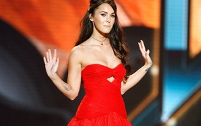 girl, strapless dress, red dress, Megan Fox