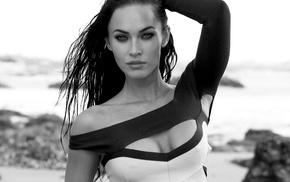 girl, actress, monochrome, Megan Fox, celebrity