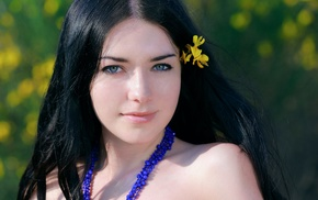green eyes, black hair, looking at viewer, flower in hair, portrait, girl