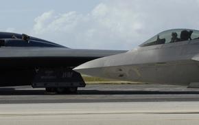 Northrop Grumman B, 2 Spirit, aircraft, dual monitors, runway, Bomber